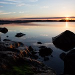 Sunrise over beach at Djurgården